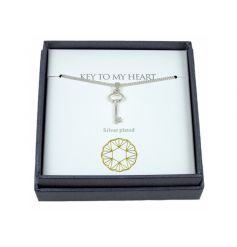 A fine quality silver plated key charm necklace with gift box. A lovely gift item for many special occasions.