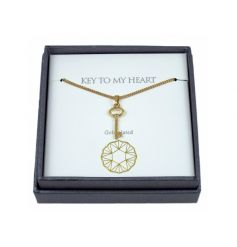 A fine quality gold plated necklace with a key charm. A lovely sentiment gift item.