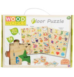 Interactive wooden puzzle to help little ones learn the alphabet and numbers and shapes.