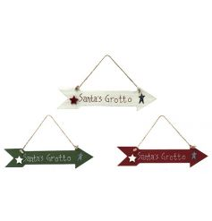 Find your way to Santa's grotto with these fun and festive wooden arrow signs.