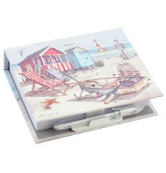 A stylish memo pad with pen with the popular Sandy Bay design.