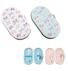 An assortment of 2 pretty manicure sets in pink and blue designs.