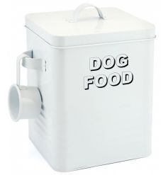 A stylish metal storage tin for dog food with practical scoop.
