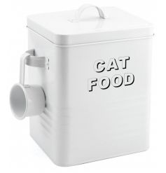 A contemporary style cat food storage tin with handy scoop.