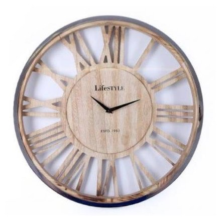 Large Silver and Wooden Clock 48cm