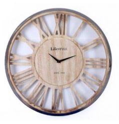 A contemporary wooden clock with silver rim detailing and roman numerals.