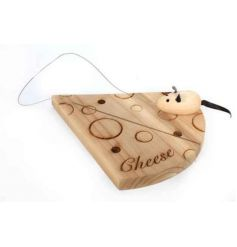 A unique cheese shaped cheese board with a mouse shaped cutter. A great gift item.