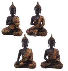 A richly coloured sitting buddha ornament in 4 assorted designs. A stylish decorative accessory.