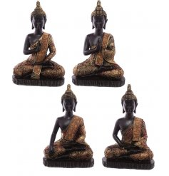 An assortment of 4 black and copper gold buddha figures. A stylish home accessory.