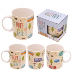 Home is where you park it. A graphic design caravan mug with gift box.