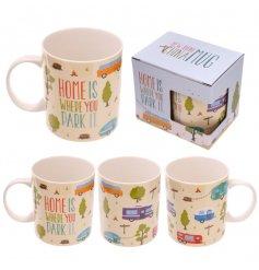 A stylish caravan mug with a matching gift box.