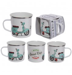 A retro style tin mug with a scooter design. A great gift item.