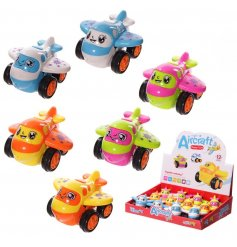 A mix of fun and colourful push along aircraft toys in orange, blue and pink designs.