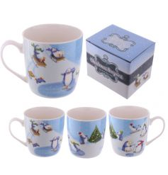 A fun and festive penguin mug with picture gift box.