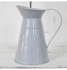 A stylish decorative jug set with a light grey tone and embossed 'Flowers & Garden' print
