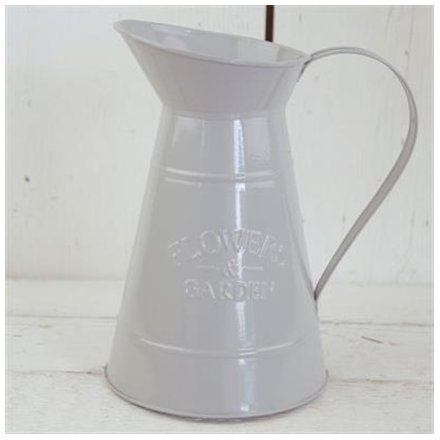 A stylishly simple metal jug set in a smooth grey tone, perfectly decorated with an embossed Flowers & Garden text