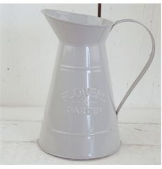 A rustic style grey jug with an embossed Flowers and Garden slogan.