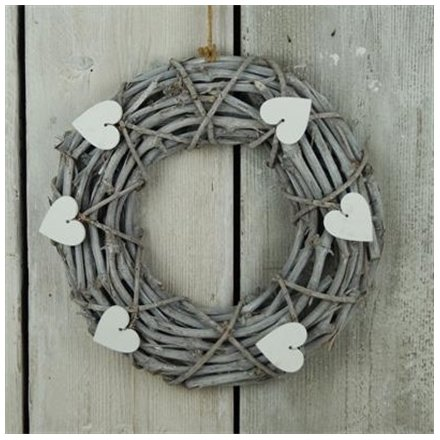 Grey Wash Wicker Wreath, 34cm