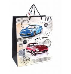 A vintage and modern car design gift bag with matching tag. A great wrapping solution!