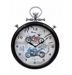 A unique wall clock with a red and blue motorbike design. A great gift item.
