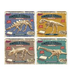 An assortment of 4 dinosaur skeleton creative toys. A fun and interactive craft activity, ideal for rainy days.