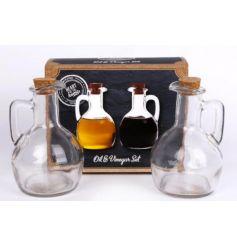A set of 2 glass bottles for oil and vinegar. The set comes with a picture gift box.