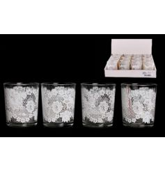 A pretty glass t-light holder with a lace design decal. A vintage inspired candle holder ideal for weddings and events