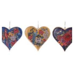 3 assorted floral designed wooden hearts