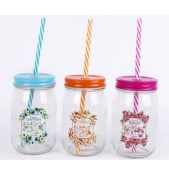 A mix of 3 colourful drinking jars each with a tropical cocktail recipe design. Complete with straw.