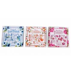 A mix of 3 colourful coasters each with a tropical cocktail recipe. A great gift item and seasonal decoration