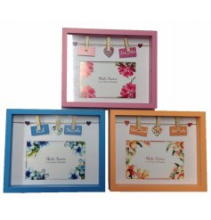 An assortment of 3 white wooden box frames with sentiment slogans and pegs. Perfect for sharing your favourite memories.