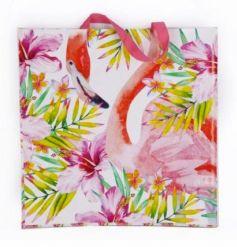 A tropical flamingo design shopper bag. A colourful and practical bag for the new season.