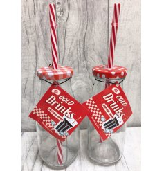 An assortment of 2 superb value milk bottle drinking jars in retro polka dot or gingham designs.