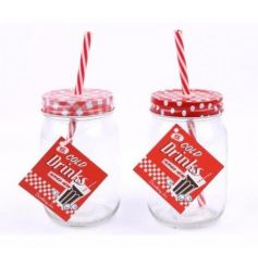 An assortment of 2 retro style mason drinking jars in check and polkadot designs.