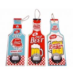 An assortment of 3 retro beer bottle openers with hanger. A great gift item and seasonal essential!