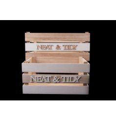 A set of two wooden and white natural crates to keep neat and tidy!