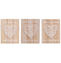 Set of 2 wooden plaques with a creative and stylish woven string art heart