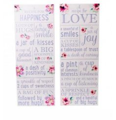 rcolour Plaques, 2a  A set of 2 lovely water coloured flower patterned plaques complete with sweet homely quotes