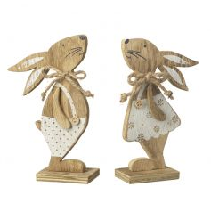 A mix of 2 utterly charming boy and girl rabbit decorations with cream painted outfits. Complete with buttons and bows