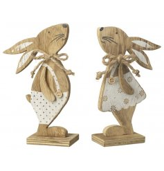 A mix of 2 utterly charming boy and girl rabbit decorations with cream painted outfits.