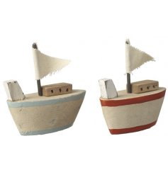 Blue and red wooden boat decorations filled with coastal charm. A must have this season!
