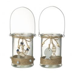 A mix of 2 glass lanterns decorated in rustic jute string and wooden beach inspired charms.