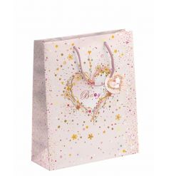 A gorgeous baby girl gift bag with a pretty heart design and matching gift tag.