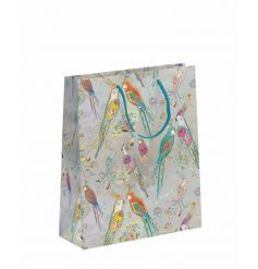 A fine quality gift bag with a multi-coloured parrot design. Complete with shimmering details and embossed patterns.