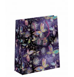 A fine quality gift bag with a stunning butterfly design with a shimmering silver finish and embossed details.