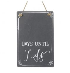 A stylish slate count down plaque with jute rope hanger. A great gift item for the bride and groom to be.