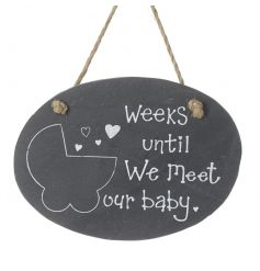 Countdown the weeks until your bundle of joy arrives with this stylish slate plaque with jute rope hanger.