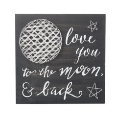 Love You to the Moon & Back rustic style wooden wall art with a 3D moon.