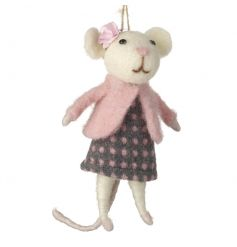 A charming standing felt mouse decoration dressed in a pretty polka dot item with pink flower.