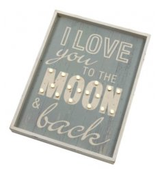 Snuggle up with your loved one and let this warm glowing LED plaque bring a bit of light to the room